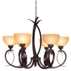"Franklin Iron Works Bold Curves 31 1/2"" Wide Chandelier"