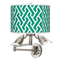 Emerald Green Brick Weave Giclee Swing Arm Wall Light