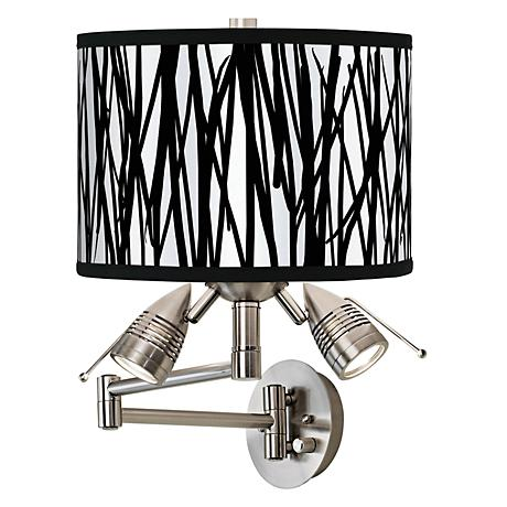 Black Jagged Stripes Giclee Swing Arm Wall Light