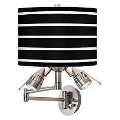 Bold Black Stripe Giclee Swing Arm Wall Light