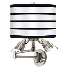 Black Parallels On White Giclee Swing Arm Wall Light
