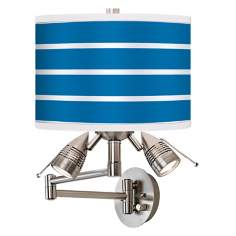 Bold Blue Stripe Giclee Swing Arm Wall Light