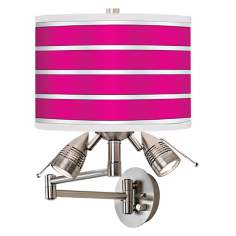 Bold Pink Stripe Giclee Swing Arm Wall Light