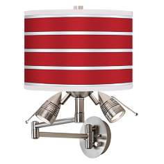 Bold Red Stripe Giclee Swing Arm Wall Light