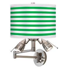 Green Horizontal Stripe Giclee Swing Arm Wall Light