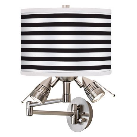 Black Horizontal Stripe Giclee Swing Arm Wall Light