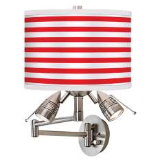 Red Horizontal Stripe Giclee Swing Arm Wall Light