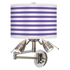Purple Horizontal Stripe Giclee Swing Arm Wall Light