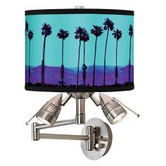Palm Tree Haze Giclee Swing Arm Wall Light