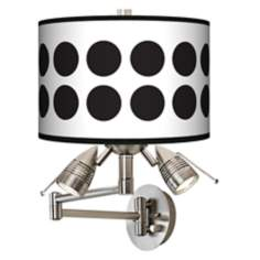 Black Orbs Giclee Swing Arm Wall Light