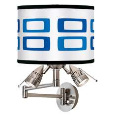Blue Rectangles Giclee Swing Arm Wall Light