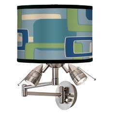 Retro Rectangles Giclee Swing Arm Wall Light