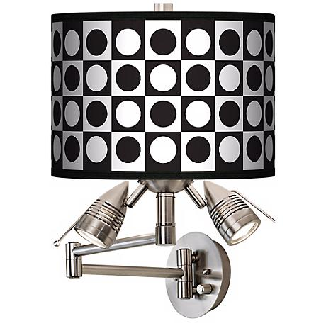 Black-White Dotted Squares Giclee Swing Arm Wall Light