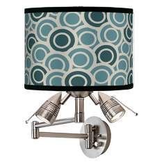 Blue-Green Circlets Giclee Swing Arm Wall Light