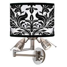 Black Tapestry Giclee Swing Arm Wall Light