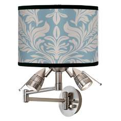 Ivory and Blue Tapestry Giclee Swing Arm Wall Light
