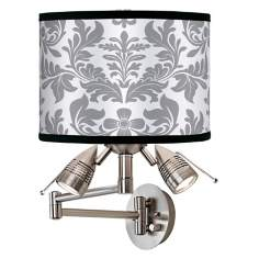Grey Flourish Giclee Swing Arm Wall Light