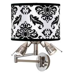 Black Filigree Giclee Swing Arm Wall Light