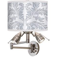 Silver Baroque Giclee Plug-In Swing Arm Wall Light