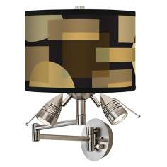 Earthy Geometrics Giclee Swing Arm Wall Light