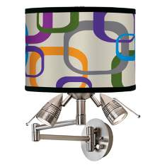 Retro Square Scramble Giclee Swing Arm Wall Light