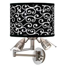Curlicue Black Giclee Swing Arm Wall Light