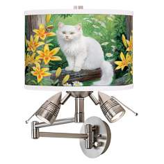 Cat and Butterfly Giclee Swing Arm Wall Light