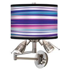 Purple Neon Giclee Swing Arm Wall Light