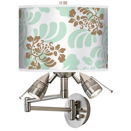 Classic Mist and Taupe Giclee Swing Arm Wall Light