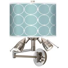 Aqua Interlace Giclee Swing Arm Wall Light