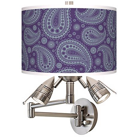 Purple Paisley Giclee Side Lights Plug-In Swing Arm Wall Light