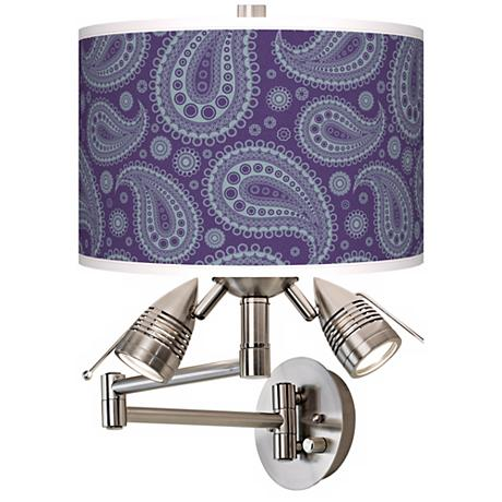 Purple Paisley Giclee Side Lights Plug In Swing Arm Wall Light