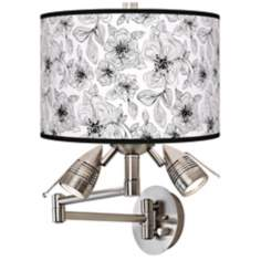 Stacy Garcia Linear Floral Giclee Swing Arm Wall Light