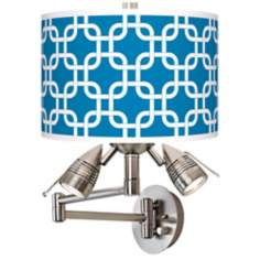 Blue Lattice Giclee Side Light Swing Arm Wall Light