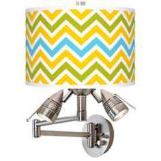 Citrus Zig Zag Giclee Side Light Swing Arm Wall Light