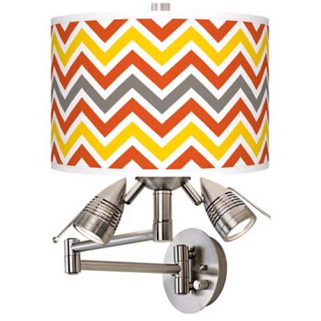 Flame Zig Zag Giclee Swing Arm Wall Light