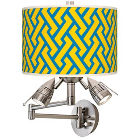 Yellow Brick Weave Giclee Swing Arm Wall Light
