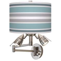 Multi Color Stripes Giclee Side Light Swing Arm Wall Light