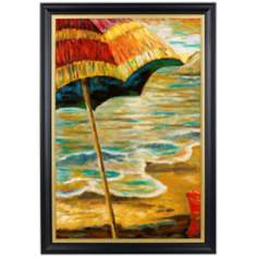 "Beach Parasols II Gold Trim Giclee 41 1/2"" High Wall Art"