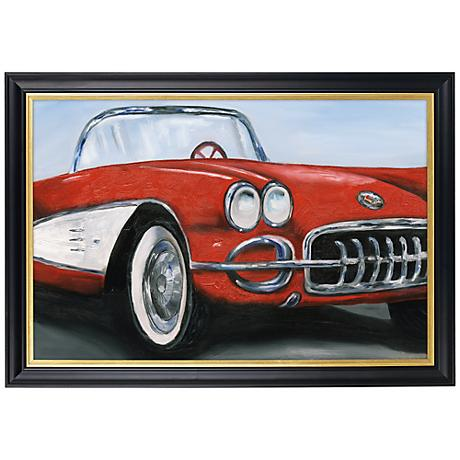 "Red Roadster Gold Trim Giclee 41 1/2"" Wide Wall Art"