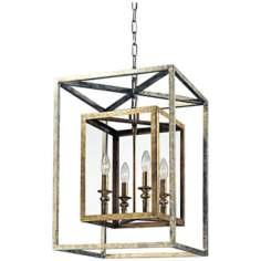 "Morgan 4-Light 16"" Wide Gold and Silver Leaf Pendant Light"