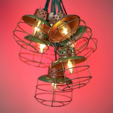 Galvanized Metal String Party Lights : Metal Cage Lantern String Party Lights - #81203 LampsPlus.com