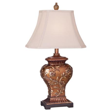 Copper Bronze Finish Carved Leaf and Vine Table Lamp