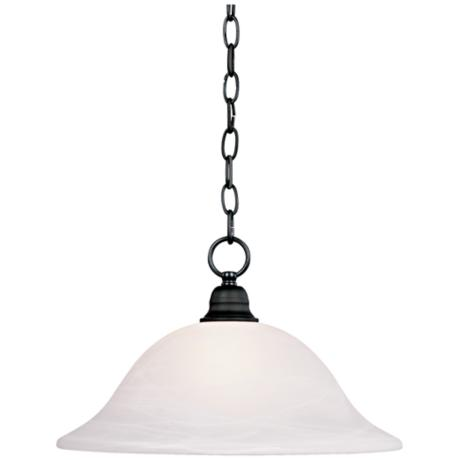 "Matte Black Finish 9"" High 16"" Wide Pendant Light"