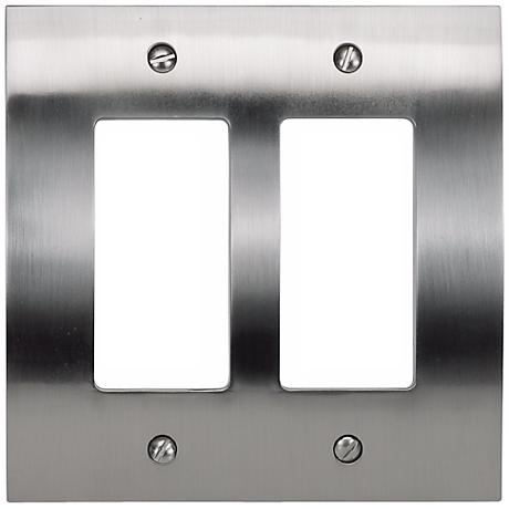 Zephyr Brushed Nickel Double Rocker Convex Wall Plate