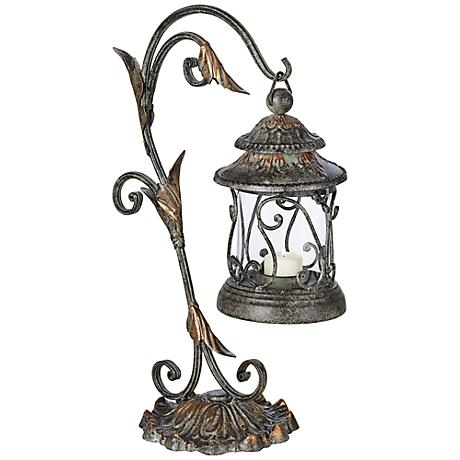 Leaf and Vine Scroll Pillar Candle Holder Lantern