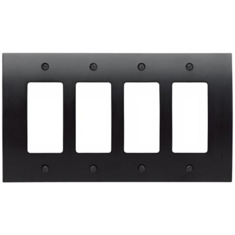 Zephyr Black Quad Rocker Convex Wall Plate
