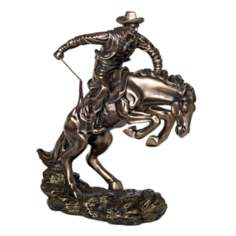 Bucking Bronco and Cowboy Sculpture