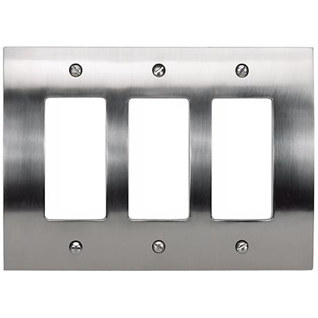 Zephyr Brushed Nickel Triple Rocker Convex Wall Plate
