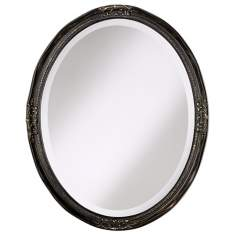 "Uttermost Bronze Newport Oval 30"" High Wall Mirror"